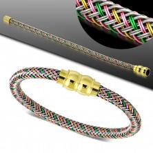 Zapestnica z barvnim pletenim vzorcem, zlata magnetna zaponka
