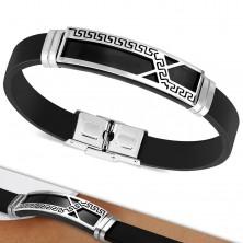 Črna gumijasta zapestnica, ploščica z nesimetrično linijo in motivom grškega ključa
