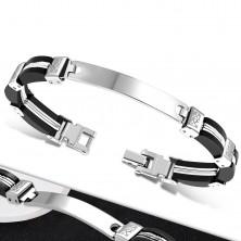 Zapestnica – črni gumijasti deli ob straneh, jeklena sredina z zarezami, ploščica