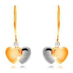 14-k zlati uhani - dvobarvni srci in prozoren cirkon na kaveljčku