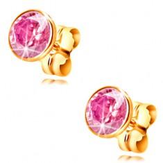14-k zlati uhani - okrogel svetlo rožnat cirkon v objemki, 5 mm