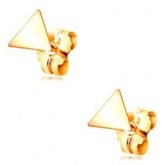 Uhani iz 14-k rumenega zlata - sijoča gladka trikotnika, čepki