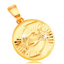 Obesek iz 14-k rumenega zlata - krog s sijočimi žarkastimi vtisi - RIBI