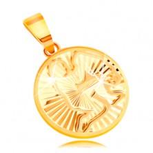 Obesek iz 14-k rumenega zlata - krog s sijočimi žarkastimi vtisi - VODNAR