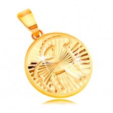 Obesek iz 14-k rumenega zlata - krog s sijočimi žarkastimi vtisi - KOZOROG