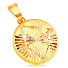 Obesek iz 14-k zlata - sijoči žarkasti vtisi, zodiakalno znamenje STRELEC