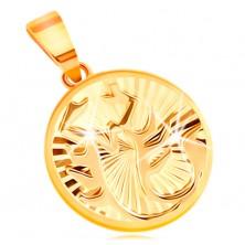 Okrogel obesek iz 14-k rumenega zlata - sijoči žarkasti vtisi, zodiakalno znamenje ŠKORPIJON