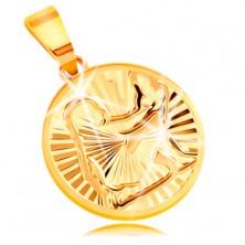 Obesek iz 14-k rumenega zlata - krog s sijočimi žarkastimi vtisi - DEVICA