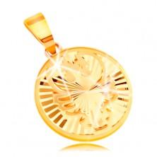 Obesek iz 14-k rumenega zlata - krog s sijočimi žarkastimi vtisi - RAK