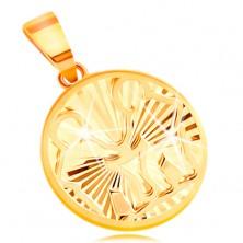Obesek iz 14-k rumenega zlata - krog s sijočimi žarkastimi vtisi - DVOJČKA