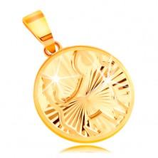 Obesek iz 14-k rumenega zlata - krog s sijočimi žarkastimi vtisi - BIK