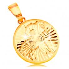 Obesek iz 14-k rumenega zlata - krog s sijočimi žarkastimi vtisi - OVEN