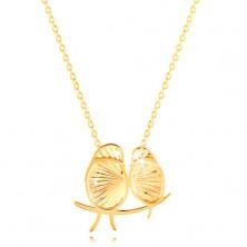 Ogrlica iz 14-k rumenega zlata - lesketavi ptici, tanka verižica