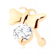 Briljantni piercing za nos iz 14-k rumenega zlata – sijoč metulj in prozoren diamant