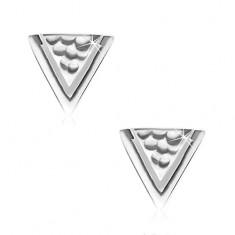 Uhani iz srebra 925, ttrikotnik z luknjicami in ozko zarezo