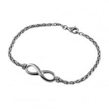 Zapestnica iz srebra 925 temno sive barve, sijoč simbol NESKONČNOSTI