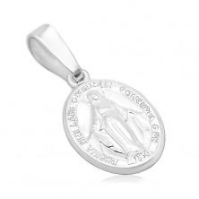 Obesek iz srebra 925 - ovalen medaljon z Devico Marijo