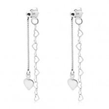 Uhani iz srebra 925, kvadrat in srčasta verižica, ploščato srce