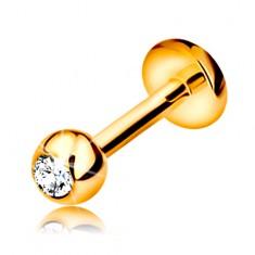Briljantni piercing za brado ali ustnico, 14-k zlato - kroglica z diamantom, 6 mm