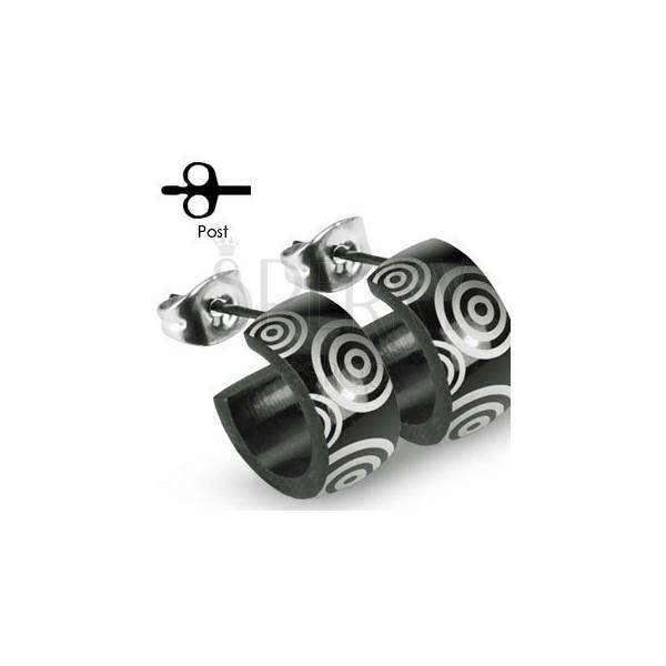 Črni uhani iz nerjavečega jekla s srebrnimi krogi