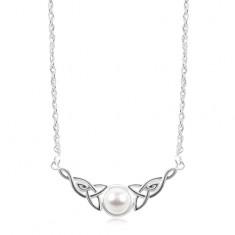 Ogrlica iz srebra 925, bela polkroglica, keltska vozla ob straneh