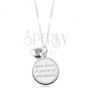 Ogrlica iz srebra 925, sijoča verižica, okrogla ploščica z napisom, srce