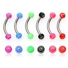 Zavit piercing za obrvi - barven vrtinec