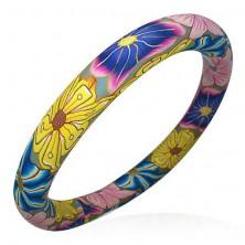 Zapestnica iz mase fimo - rože v hipijevskih barvah