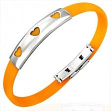 Gumijasta zapestnica s tremi srci - oranžna