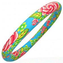 Zapestnica iz mase fimo z motivom pastelnih barv