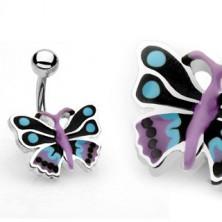 Uhan za popek - barvit metulj
