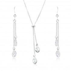 Komplet iz srebra 925 - ogrlica in uhani, ovalni prozorni cirkoni na verižicah