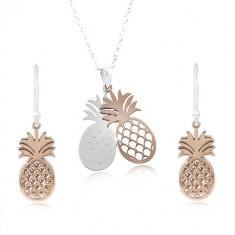 Komplet iz srebra 925, ananasa srebrne in bakrene barve