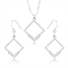Komplet uhanov in ogrlice - srebro 925, obris romba, prozorni cirkoni, zareze