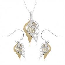 Komplet iz srebra 925, školjki srebrne in zlate barve