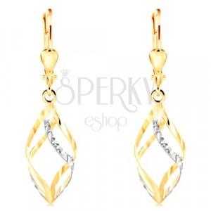 14-k zlati uhani - sijoča dvobarvna spirala z zarezicami