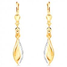 14-k zlati uhani - sijoč list, okrašen z zarezami in belim zlatom