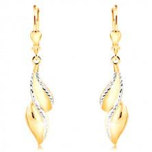 14k-k zlati uhani - ukrivljen list z linijami belega zlata in zarezami