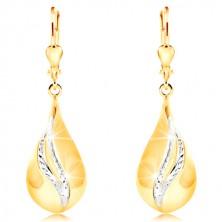 14-k zlati uhani - velika sijoča kaplja, ukrivljeni pasovi iz belega zlata
