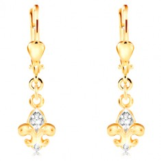 14-k zlati uhani - dvobarven simbol Fleur de Lis, prozorni cirkoni