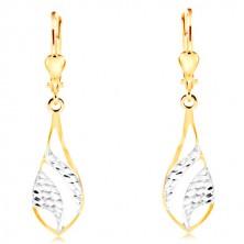 14-k zlati uhani - velika sijoča solza, gravirani loki iz belega zlata