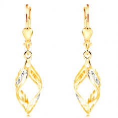 14-k zlati uhani - široka dvobarvna valova z zarezami