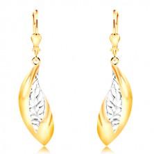 14-k zlati uhani - velik ukrivljen list, pas belega zlata z zarezami