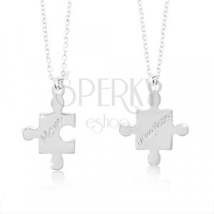 Ogrlici iz srebra 925 - kosa sestavljanke z napisoma Mom and Daughter