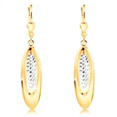 14-k zlati uhani – viseč oval z drobnimi zarezami in belim zlatom