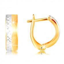 14-k zlati uhani - gladek mat pas rumene barve, brušena linija iz belega zlata