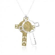 Ogrlica iz srebra 925, graviran križ zlate in srebrne barve