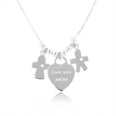 """Ogrlica iz srebra 925, srce z napisom """"Love you MOM"""", fantek in punčka"""
