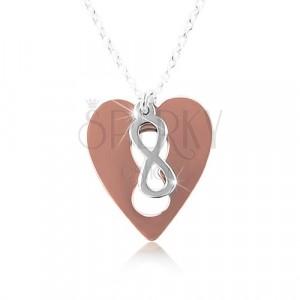 Ogrlica iz srebra 925 – bakreno srce s simbolom NESKONČNOSTI