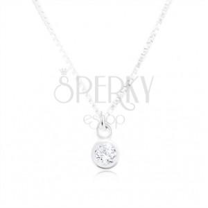 Ogrlica iz srebra 925, sijoča verižica z oglatimi členi, prozoren cirkon